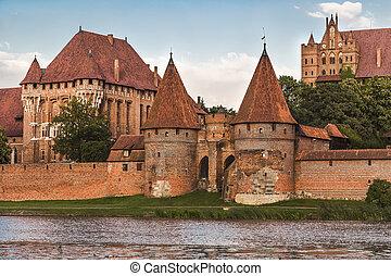 fragment, polen, -, marienburg, malbork, kasteel
