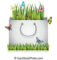 fragment, sac, grass., papier, achats