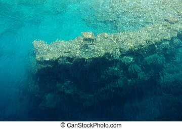 fragment, stad, kekova, ruïnes, onderwater