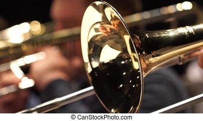 Fragment trumpet closeup. Trumpet player jazz music....