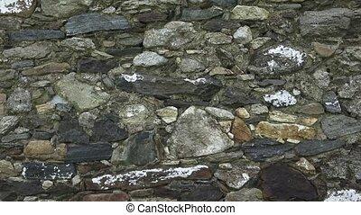 fragment, van, een, steen, wall., de, oud, muur, is, gemaakt, van, stone., textuur, of, achtergrond.
