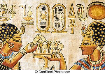 fragment, van, egyptisch, papyrus