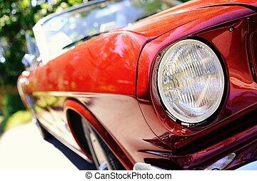 fragment, von, rotes , retro, auto