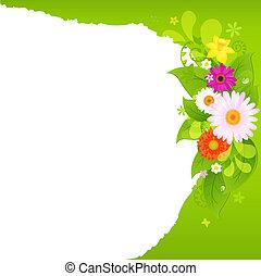 fragmentary, papel, con, flores