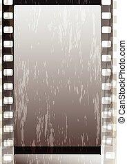 fragmentary, striscie, grunge, grigio, film