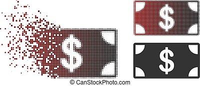 fragmented, banknot, dolar, halftone, pixel, ikona