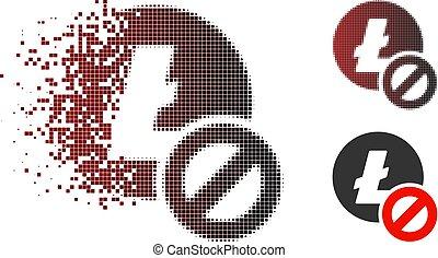Fragmented Dot Halftone Forbidden Litecoin Icon - Forbidden...