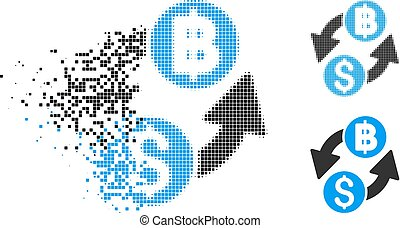 Fragmented Dotted Halftone Dollar Baht Exchange Icon -...
