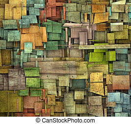 fragmented multiple color square tile grunge pattern...