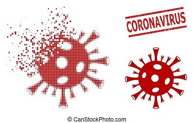 Fragmented Pixel Coronavirus Icon and Grunge Coronavirus Seal Stamp