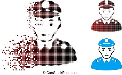 Fragmented Pixel Halftone Army General Icon