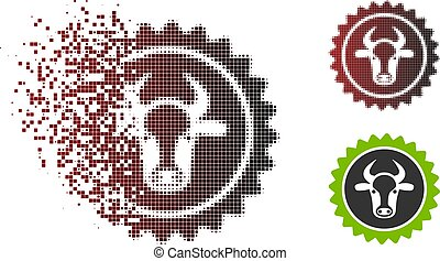 Fragmented Pixel Halftone Beef Certificate Seal Icon