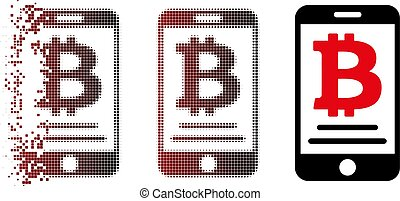 Fragmented Pixel Halftone Bitcoin Mobile Payment Icon