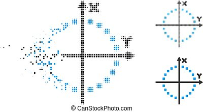Fragmented Pixel Halftone Circle Plot Icon