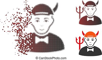 Fragmented Pixel Halftone Devil Icon - Devil icon with face...