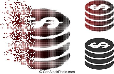 Fragmented Pixel Halftone Dollar Coin Column Icon