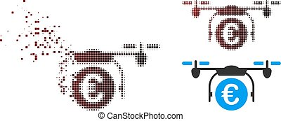 Fragmented Pixel Halftone Euro Quadcopter Payment Icon