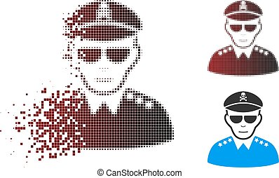 Fragmented Pixel Halftone Evil Army General Icon