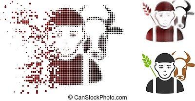 Fragmented Pixel Halftone Farmer Icon