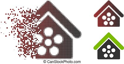 Fragmented Pixel Halftone Flower Orangery Icon - Vector ...