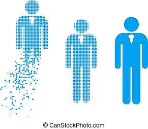 Fragmented Pixel Halftone Gentleman Icon