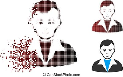 Fragmented Pixel Halftone Guy Icon