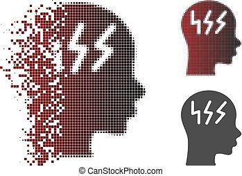 Fragmented Pixel Halftone Headache Icon