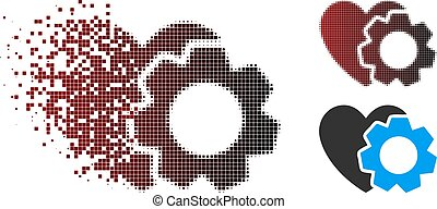 Fragmented Pixel Halftone Heart Repair Icon
