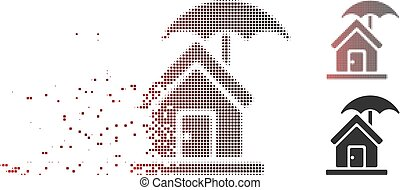 Fragmented Pixel Halftone House Under Umbrella Icon