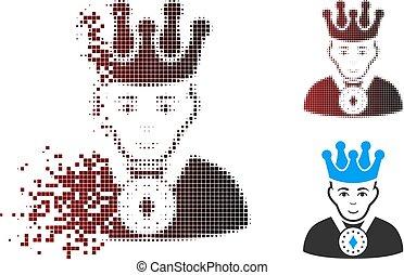 Fragmented Pixel Halftone King Icon