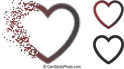 Fragmented Pixel Halftone Love Heart Icon
