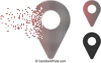 Fragmented Pixel Halftone Map Marker Icon