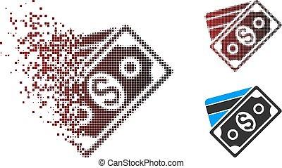 Fragmented Pixel Halftone Money Icon - Vector money icon in...