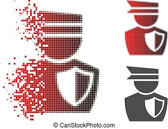 Fragmented Pixel Halftone Police Officer Icon