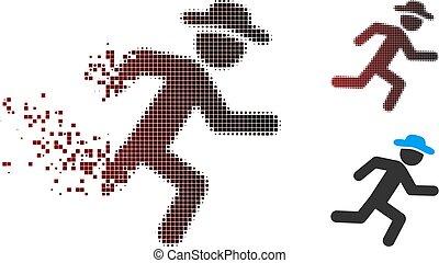 Fragmented Pixel Halftone Running Gentleman Icon