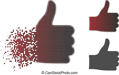 Fragmented Pixel Halftone Thumb Up Icon