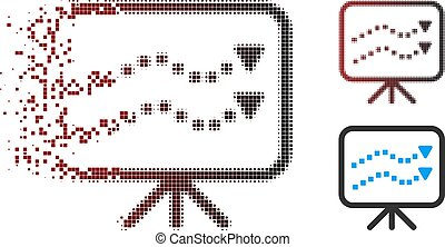 Fragmented Pixel Halftone Trends Presentation Icon - Vector...