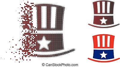 Fragmented Pixel Halftone Uncle Sam Hat Icon
