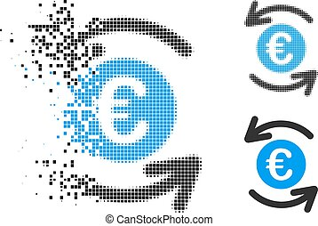 Fragmented Pixel Halftone Update Euro Balance Icon