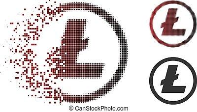 Fragmented Pixelated Halftone Litecoin Coin Icon - Litecoin...