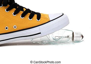fragmenten, van, bol, onder, sneaker