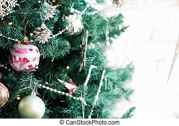 fragmento, árvore, ornamentos natal