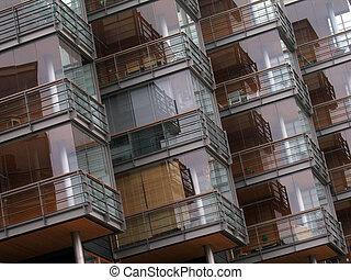 fragmento, casa, fachada, moderno, residencial