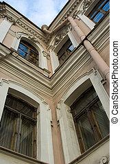 fragmento, casa, saint-petersburg, antigas