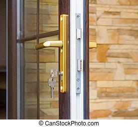 fragmento, cerradura, puerta, keys.