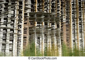 fragmento, construção casa, reflexão, sob
