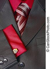 fragmento, corbata, hombre, camisa, traje