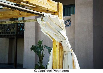 fragmento, cortinas, árabe, sol