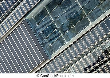 fragmento, de, um, modernos, edifício., arquitetura moderna, desenho, em, hamburgo, alemanha