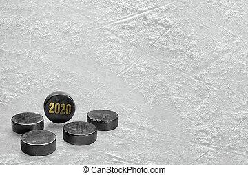 fragmento, hockey campo, puck